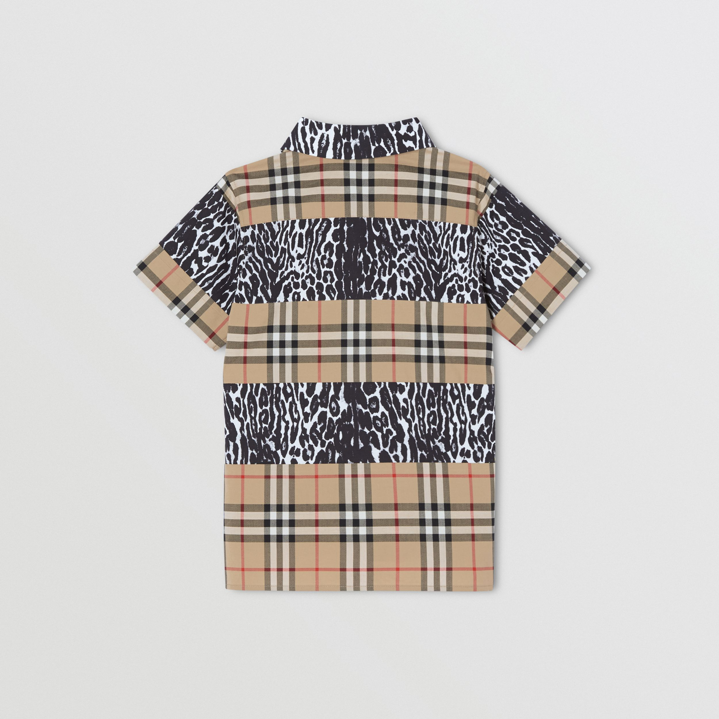 Short-sleeve Vintage Check and Leopard Print Shirt in Archive Beige | Burberry - 4