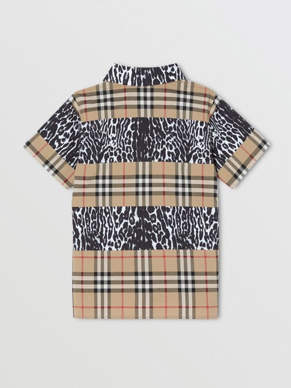 Short-sleeve Vintage Check and Leopard Print Shirt in Archive Beige | Burberry United Kingdom - cell image 3