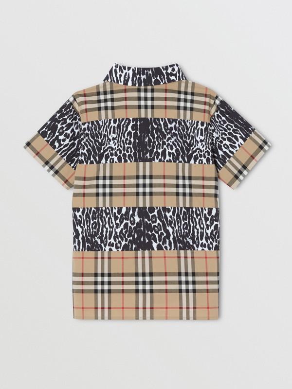 Camicia a maniche corte con motivo Vintage check e stampa leopardata (Beige Archivio) | Burberry - cell image 3