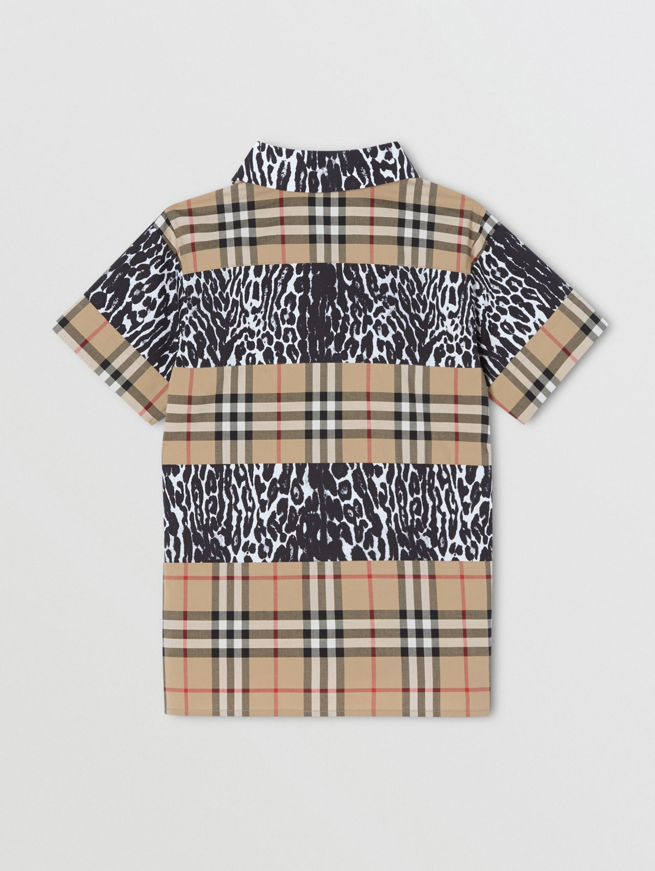 Short-sleeve Vintage Check and Leopard Print Shirt in Archive Beige