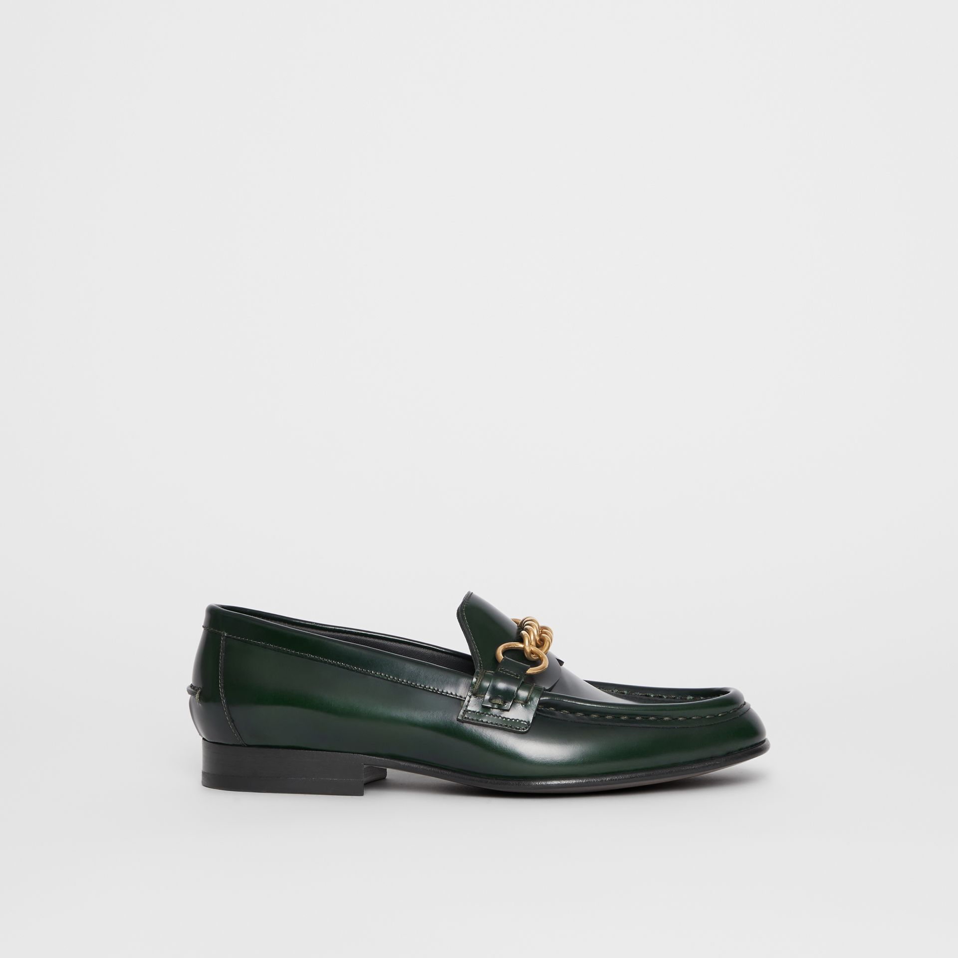 The Leather Link Loafer in Deep Green - Women | Burberry United States - gallery image 5