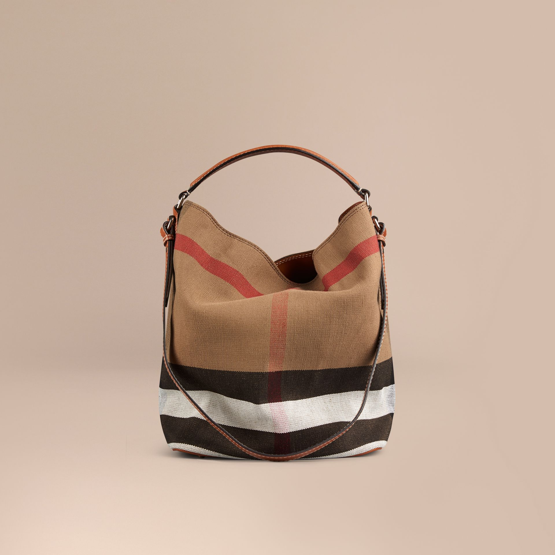 The Medium Ashby in Canvas Check and Leather in Saddle Brown - Women | Burberry - gallery image 7