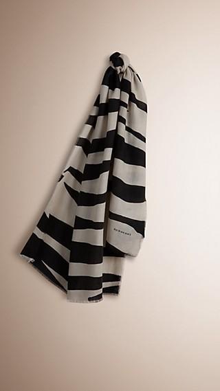 Sciarpa leggera in cashmere con stampa zebrata