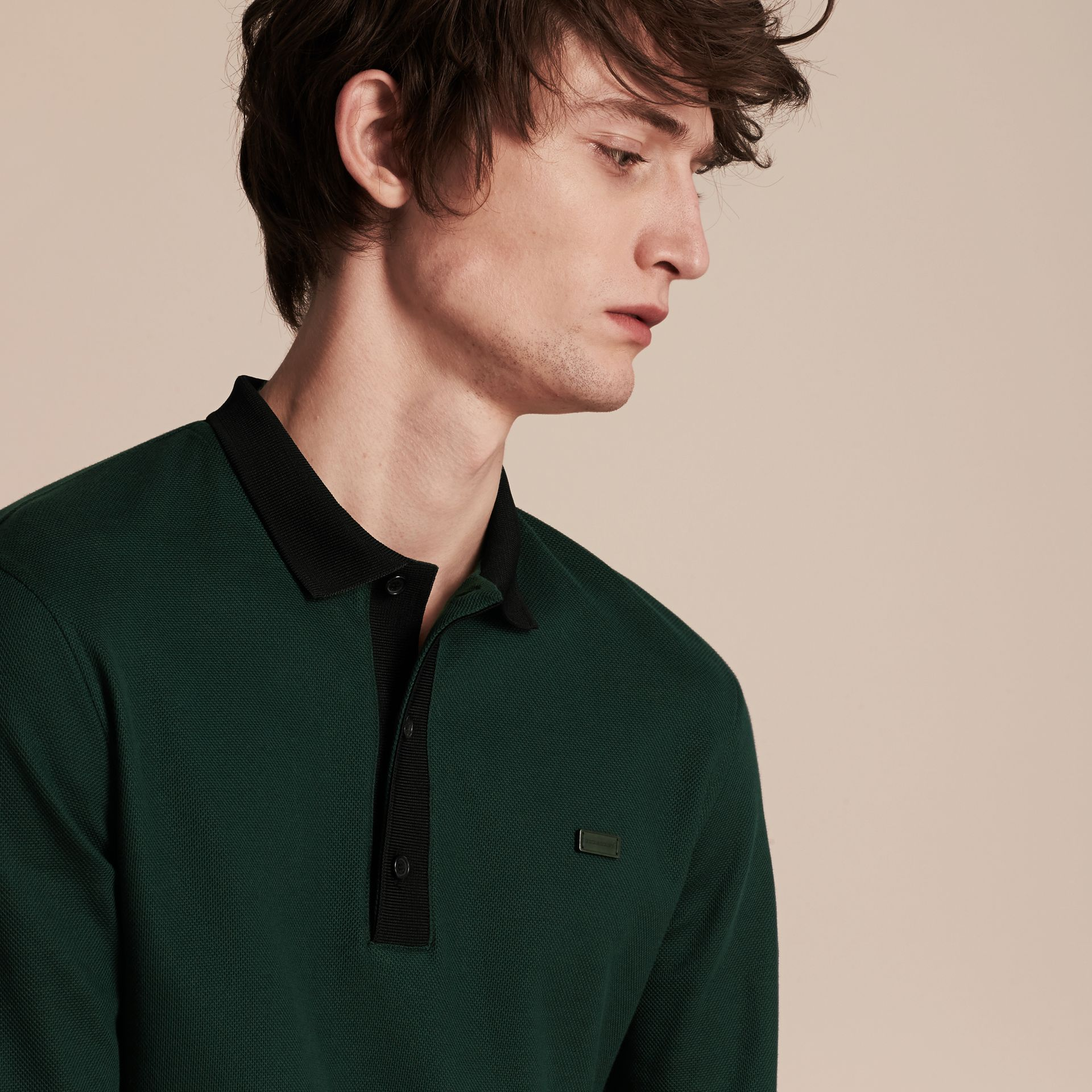 Forest green/black Long-sleeved Cotton Piqué Polo Shirt Forest Green/black - gallery image 5