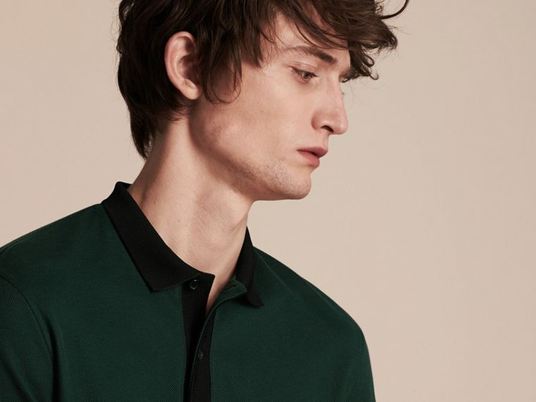 Forest green/black Long-sleeved Cotton Piqué Polo Shirt Forest Green/black - cell image 4