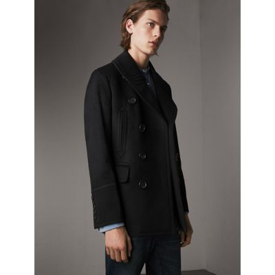 Wool Cashmere Pea Coat in Black - Men | Burberry United Kingdom