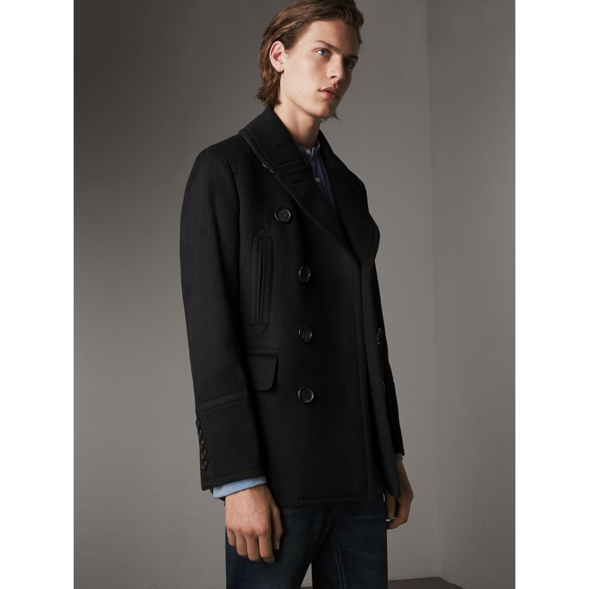 Wool Cashmere Pea Coat in Black - Men | Burberry Canada - gallery image 1
