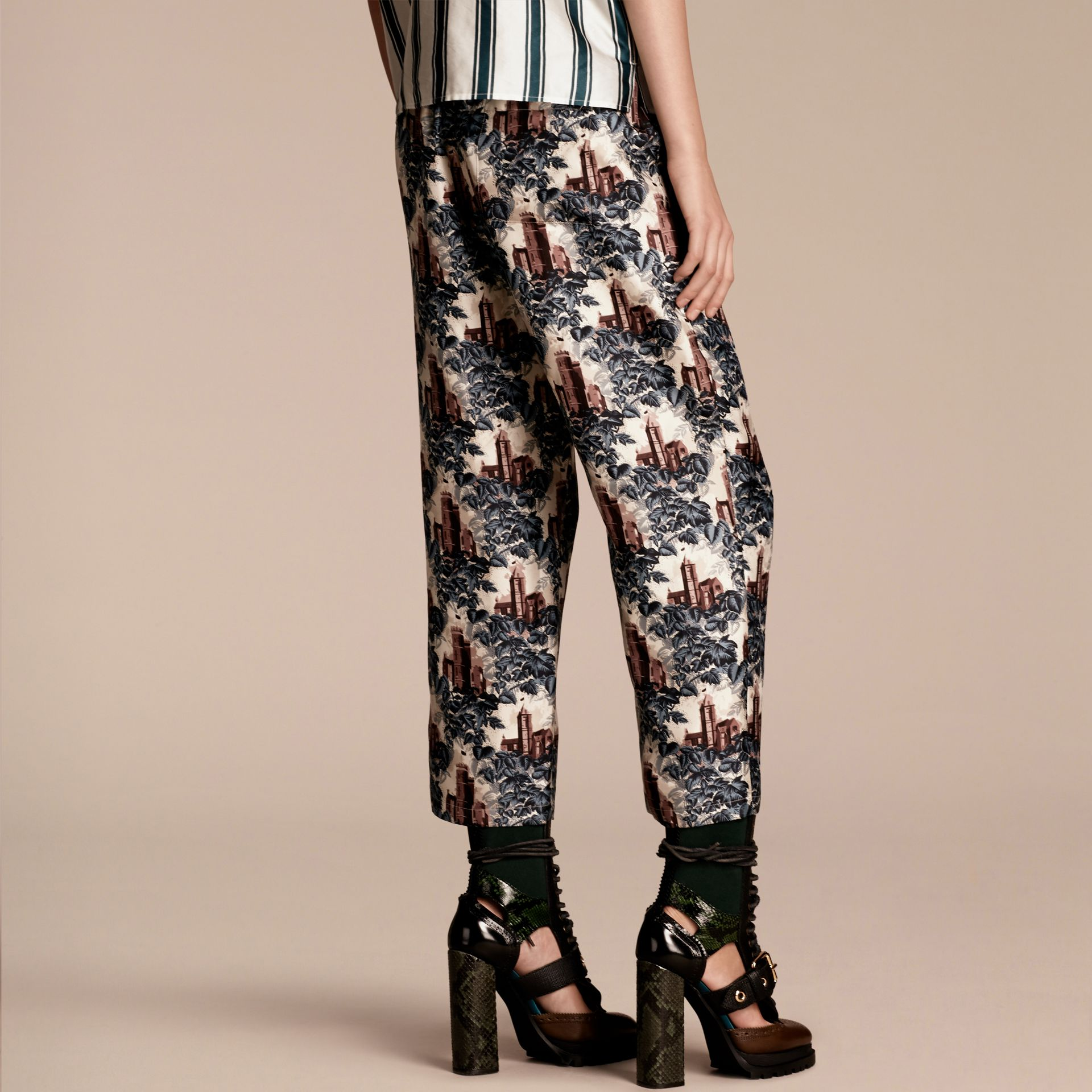 Airforce blue Castle Print Silk Twill Cropped Pyjama-style Trousers - gallery image 3