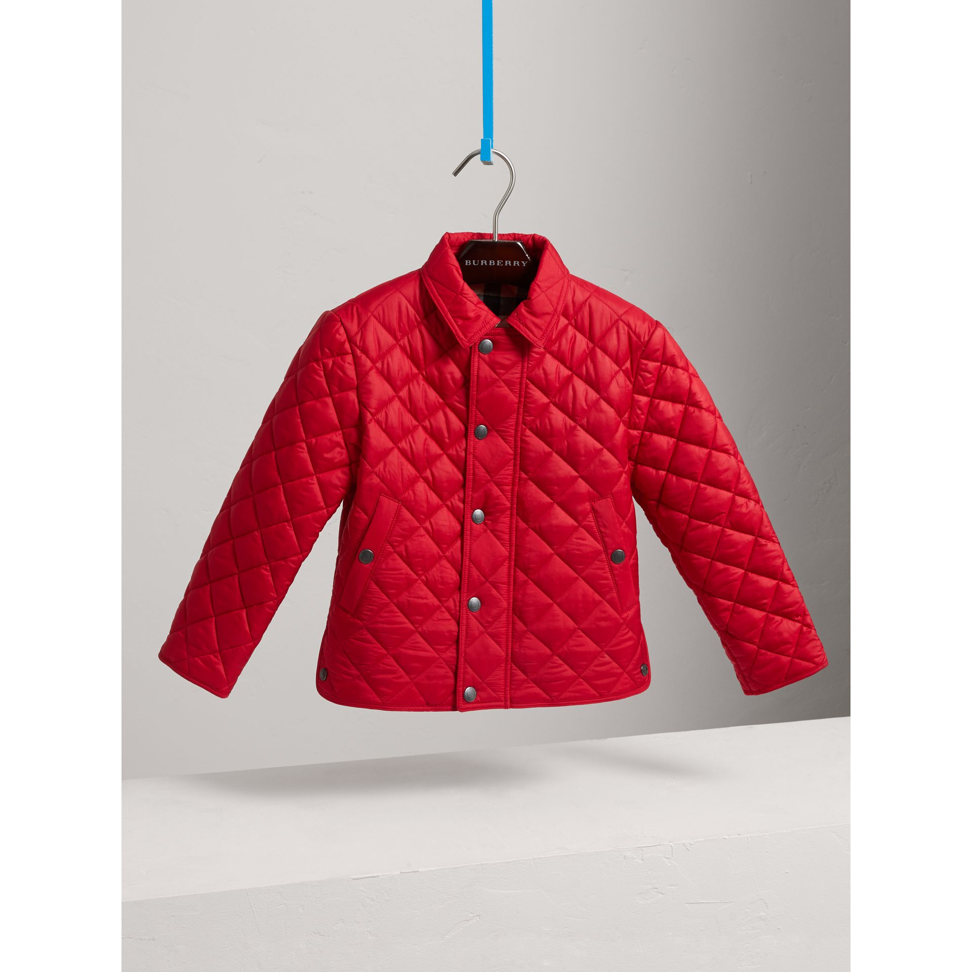 Diamond Quilted Jacket in Bright Cherry Red - Boy | Burberry - gallery image 3