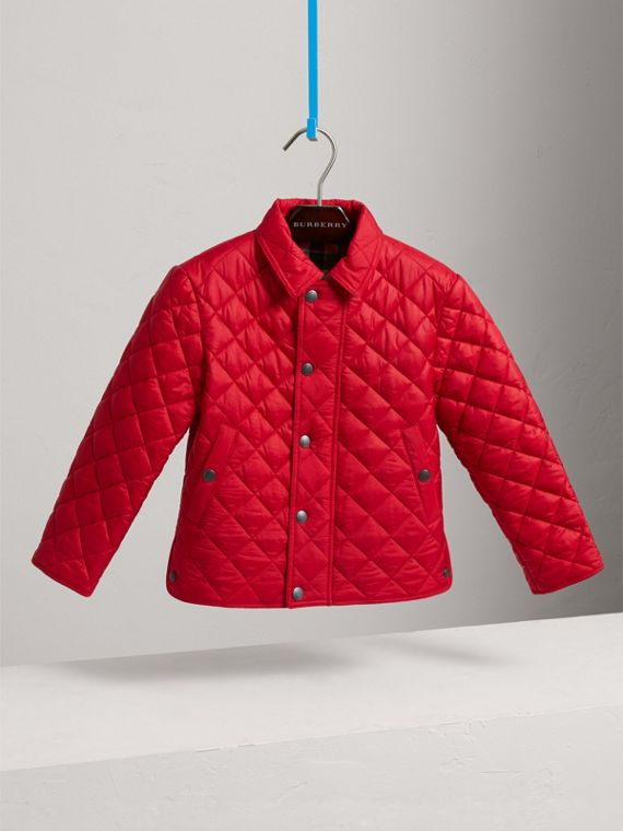 Diamond Quilted Jacket in Bright Cherry Red - Boy | Burberry United Kingdom - cell image 2