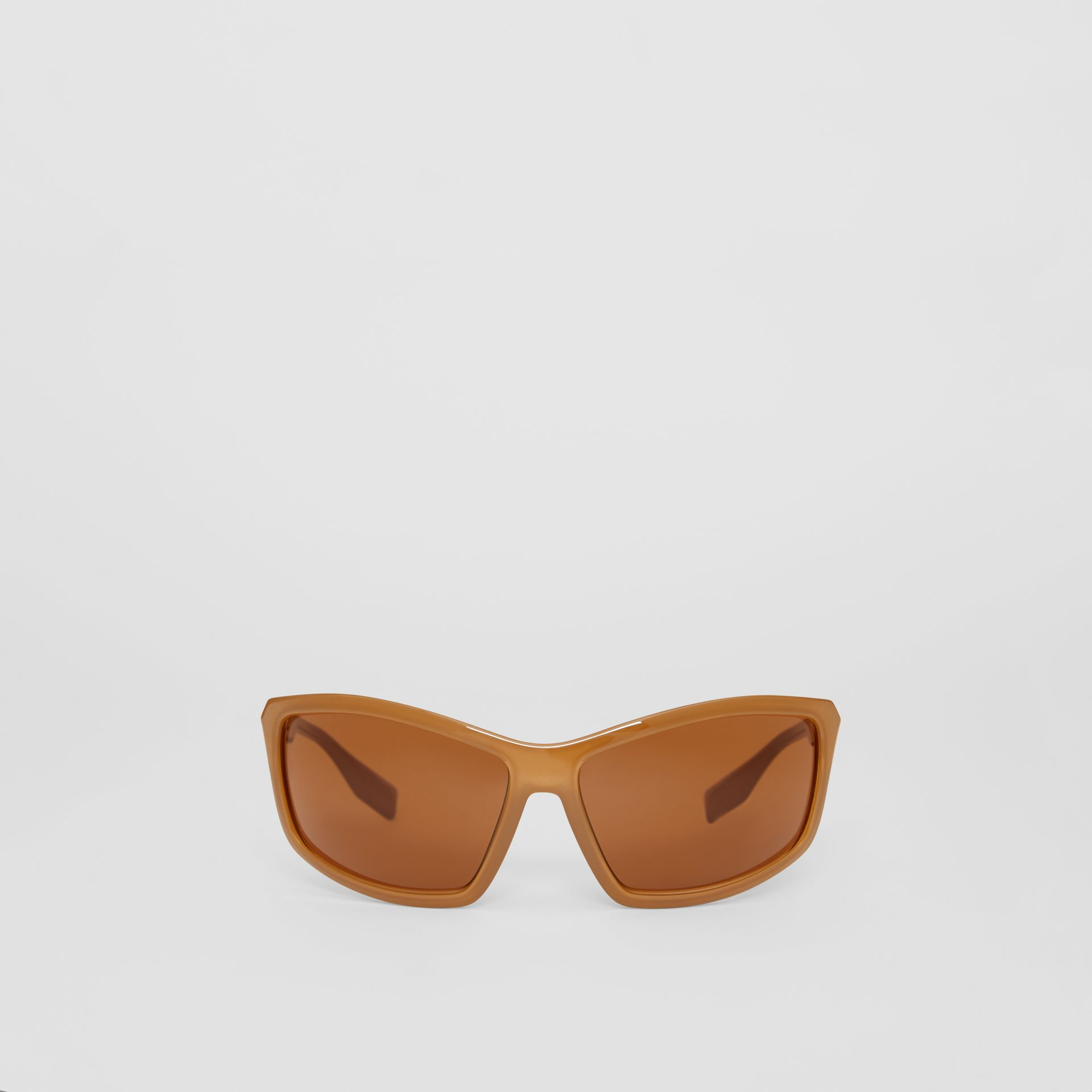 Wrap Frame Sunglasses in Amber Tortoiseshell - Men | Burberry - gallery image 0