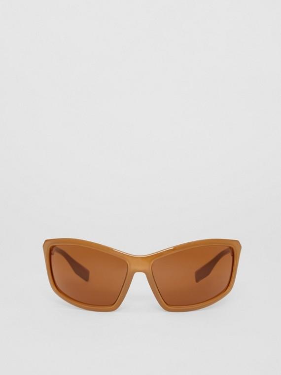 Wrap Frame Sunglasses in Amber Tortoiseshell