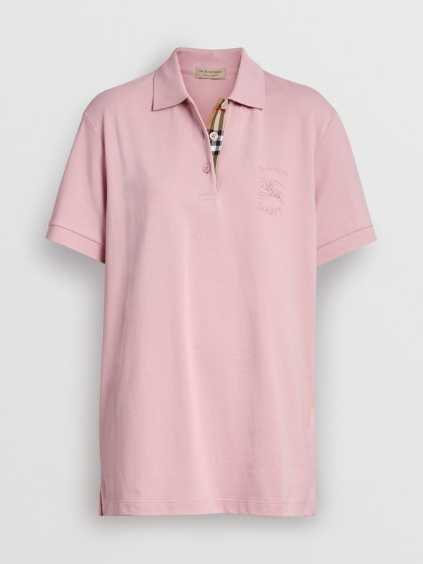 Check Placket Cotton Piqué Polo Shirt in Chalk Pink - Women | Burberry - cell image 3