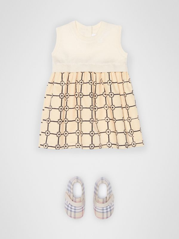 Knit Cashmere and Flower Print Cotton Dress in Ivory - Children | Burberry Hong Kong - cell image 2