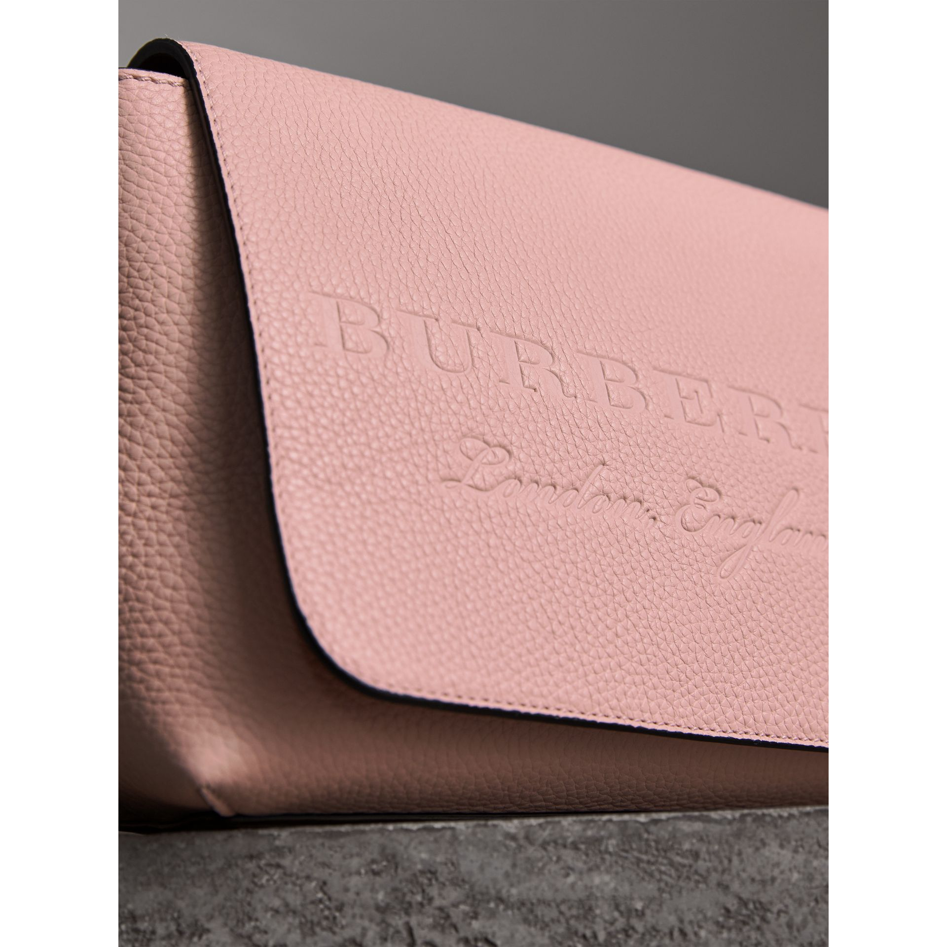Small Embossed Leather Messenger Bag in Pale Ash Rose - Women | Burberry - gallery image 2