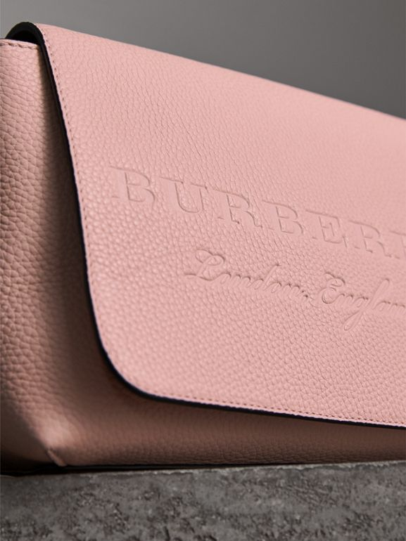 Small Embossed Leather Messenger Bag in Pale Ash Rose - Women | Burberry - cell image 1