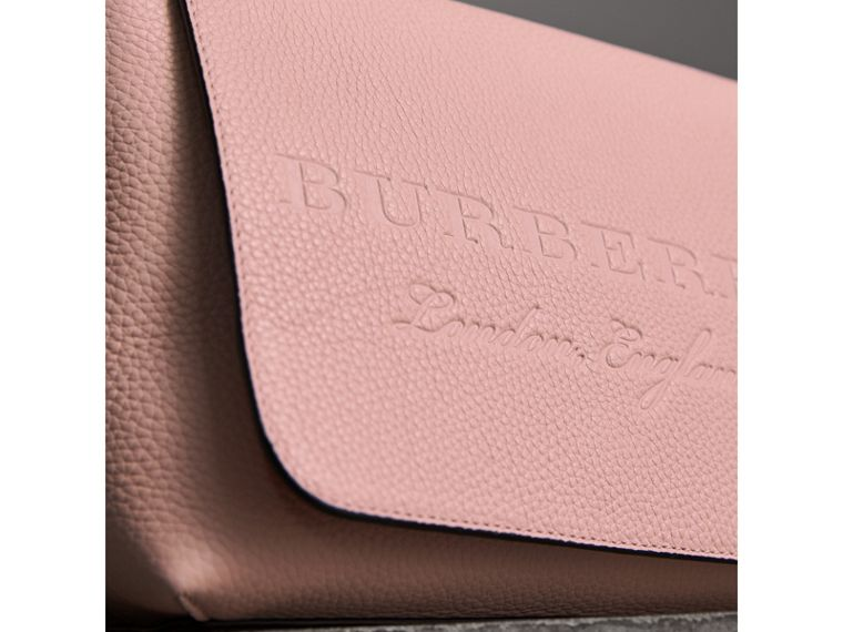 Small Embossed Leather Messenger Bag in Pale Ash Rose - Women | Burberry Australia - cell image 1
