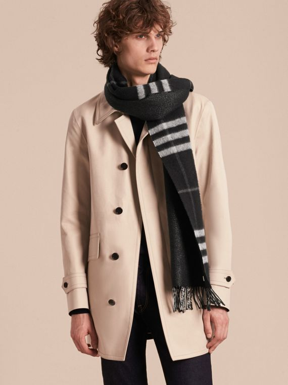 Reversible Metallic Check Cashmere Scarf in Black | Burberry - cell image 3