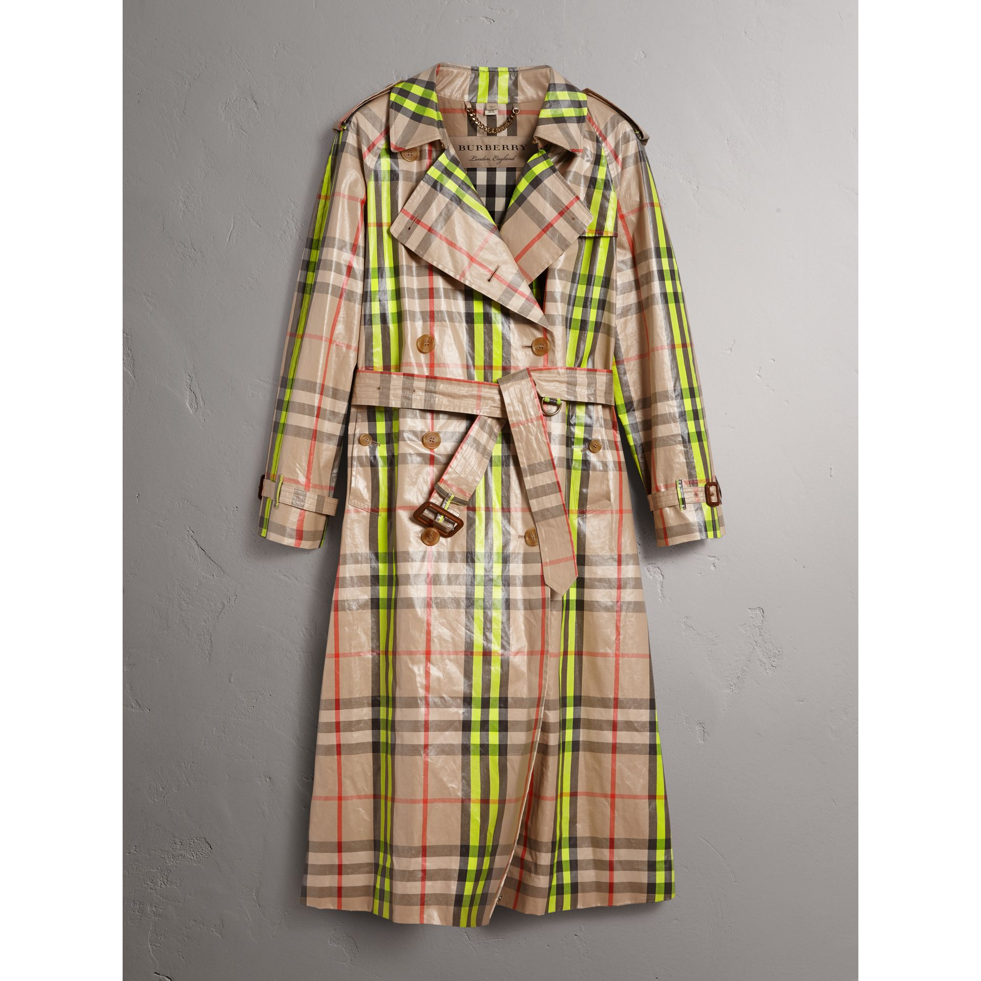 Laminated Check Trench Coat – Online Exclusive in Fluorescent Yellow - Women | Burberry United Kingdom - gallery image 3