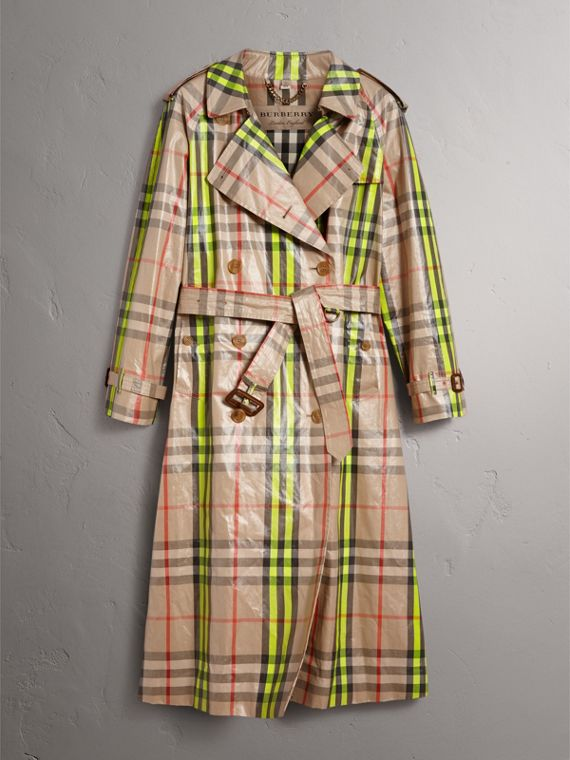 Laminated Check Trench Coat – Online Exclusive in Fluorescent Yellow - Women | Burberry United Kingdom - cell image 3