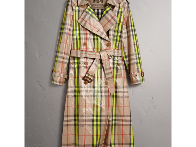 Laminated Check Trench Coat – Online Exclusive in Fluorescent Yellow - Women | Burberry United States - cell image 1