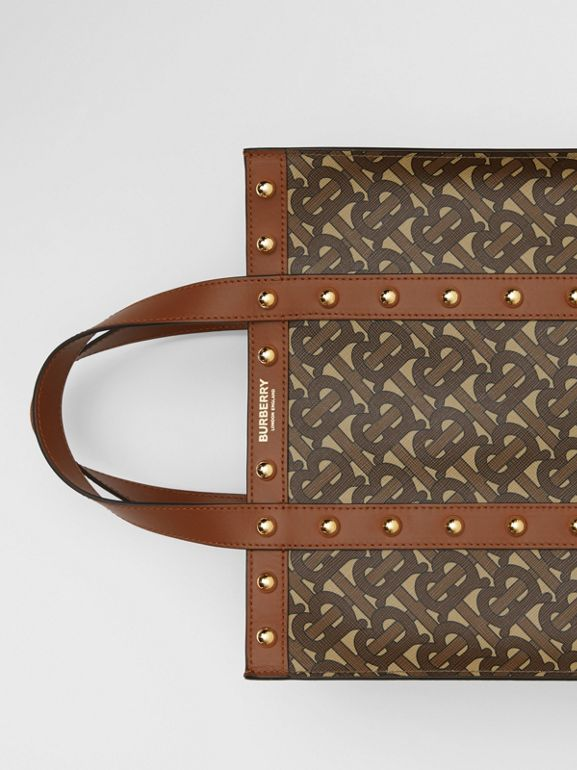 Small Monogram Print E-canvas Portrait Tote Bag in Tan - Women | Burberry - cell image 1