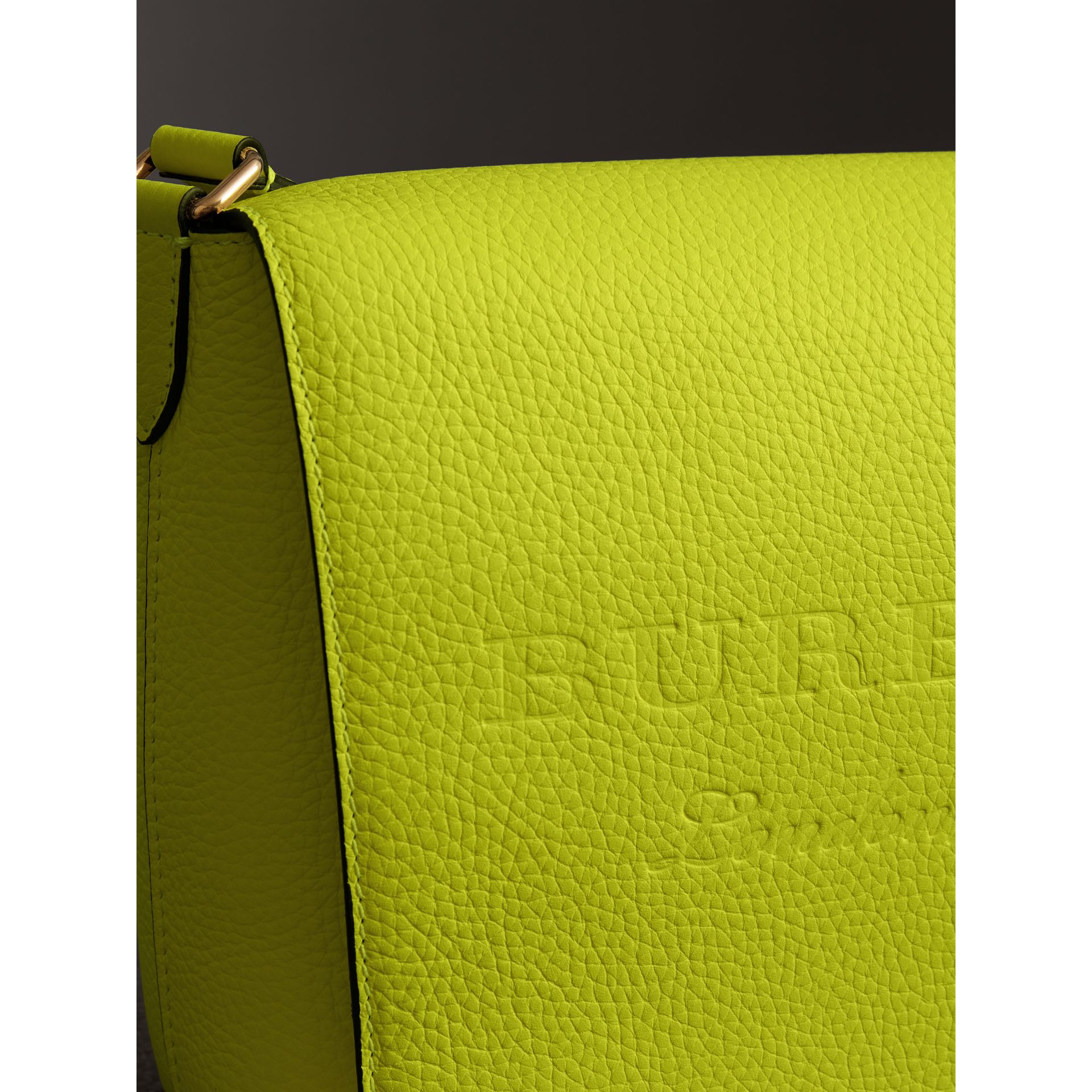 Medium Embossed Leather Messenger Bag in Neon Yellow | Burberry United Kingdom - gallery image 1