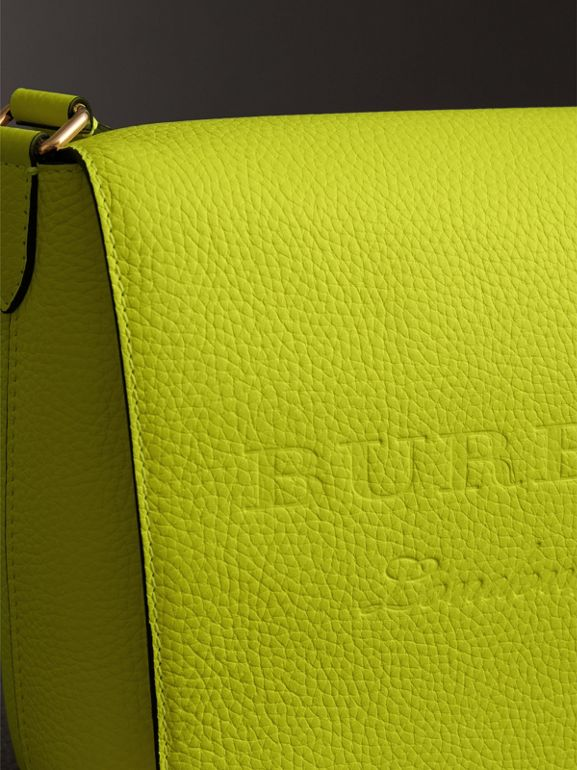 Medium Embossed Leather Messenger Bag in Neon Yellow | Burberry - cell image 1