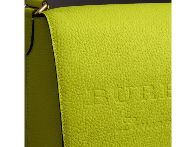 Medium Embossed Leather Messenger Bag in Neon Yellow | Burberry United Kingdom - cell image 1