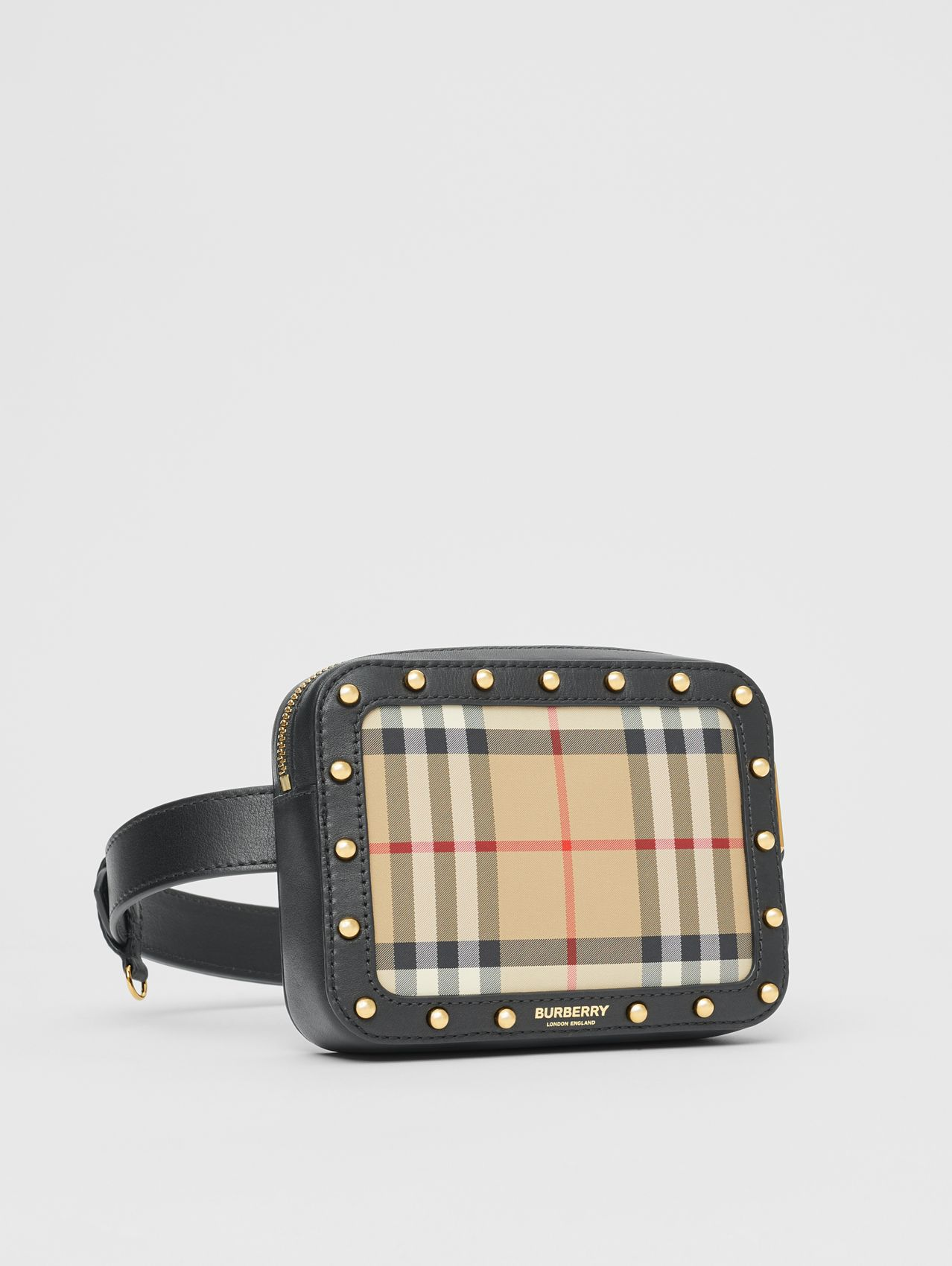 Vintage Check and Studded Leather Bum Bag (Black)