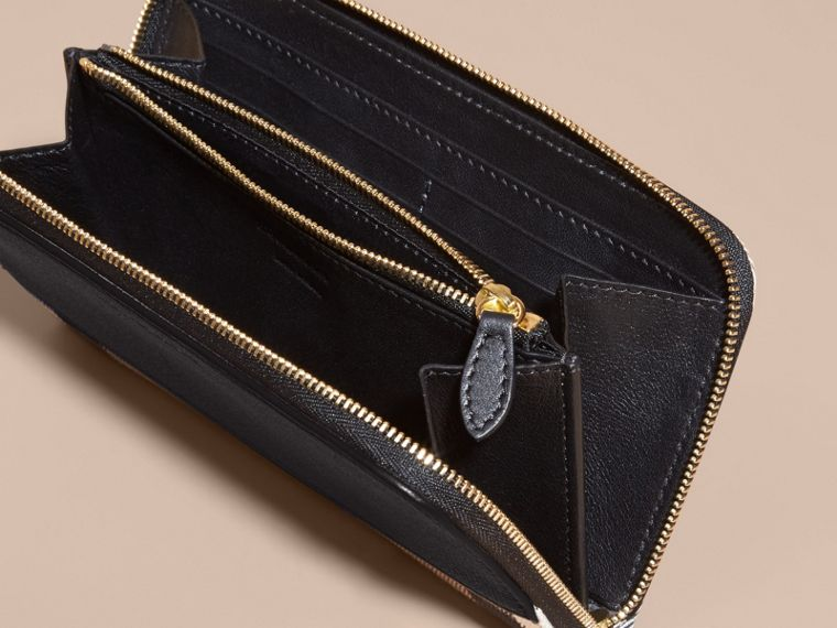 House Check and Leather Ziparound Wallet in Black - Women | Burberry Canada - cell image 4
