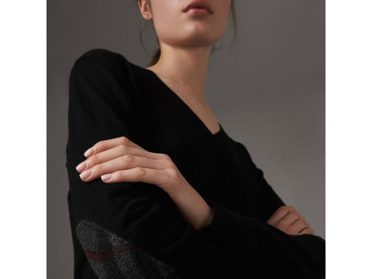 Check Detail Cashmere V-neck Sweater in Black - Women | Burberry - cell image 1