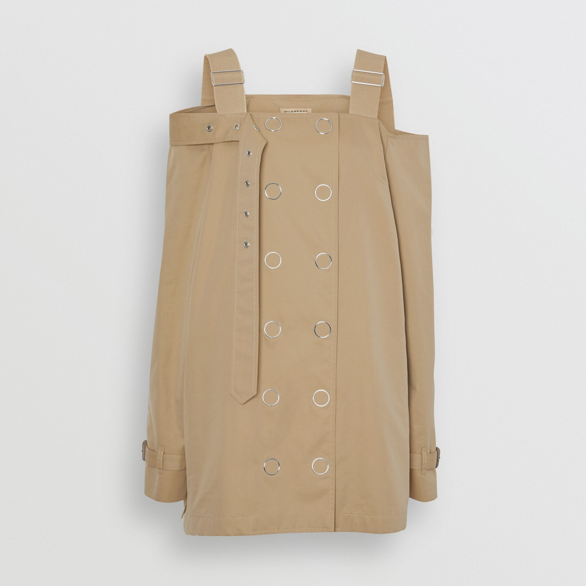 Cotton Gabardine Deconstructed Trench Dress in Pale Honey - Women | Burberry United Kingdom - gallery image 3