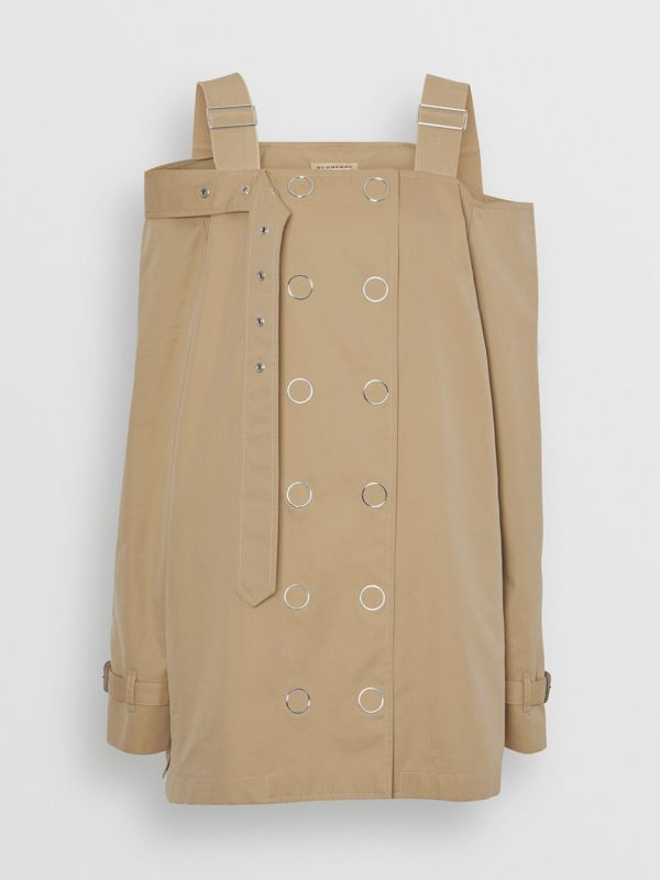 Cotton Gabardine Deconstructed Trench Dress in Pale Honey - Women | Burberry - cell image 3