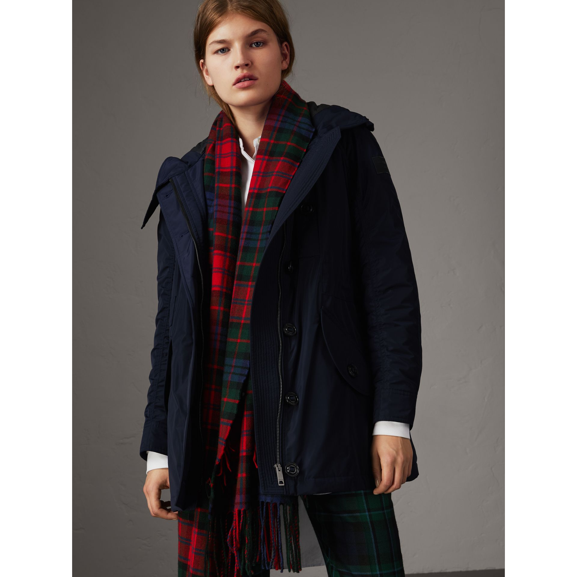 Technical Taffeta Hooded Parka in Navy - Women | Burberry Australia - gallery image 1