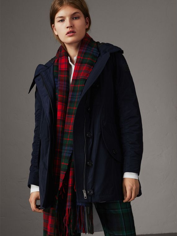 Technical Taffeta Hooded Parka in Navy