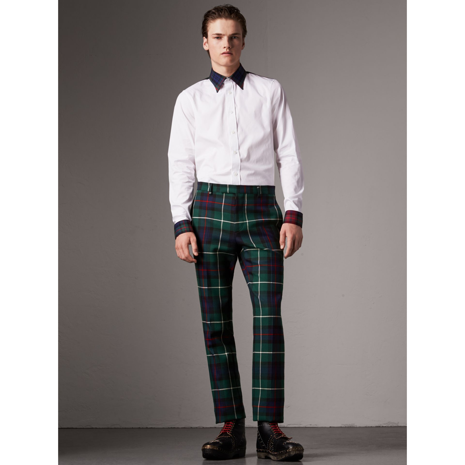 Tartan Cotton Gabardine Detail Cotton Poplin Shirt in White - Men | Burberry - gallery image 1