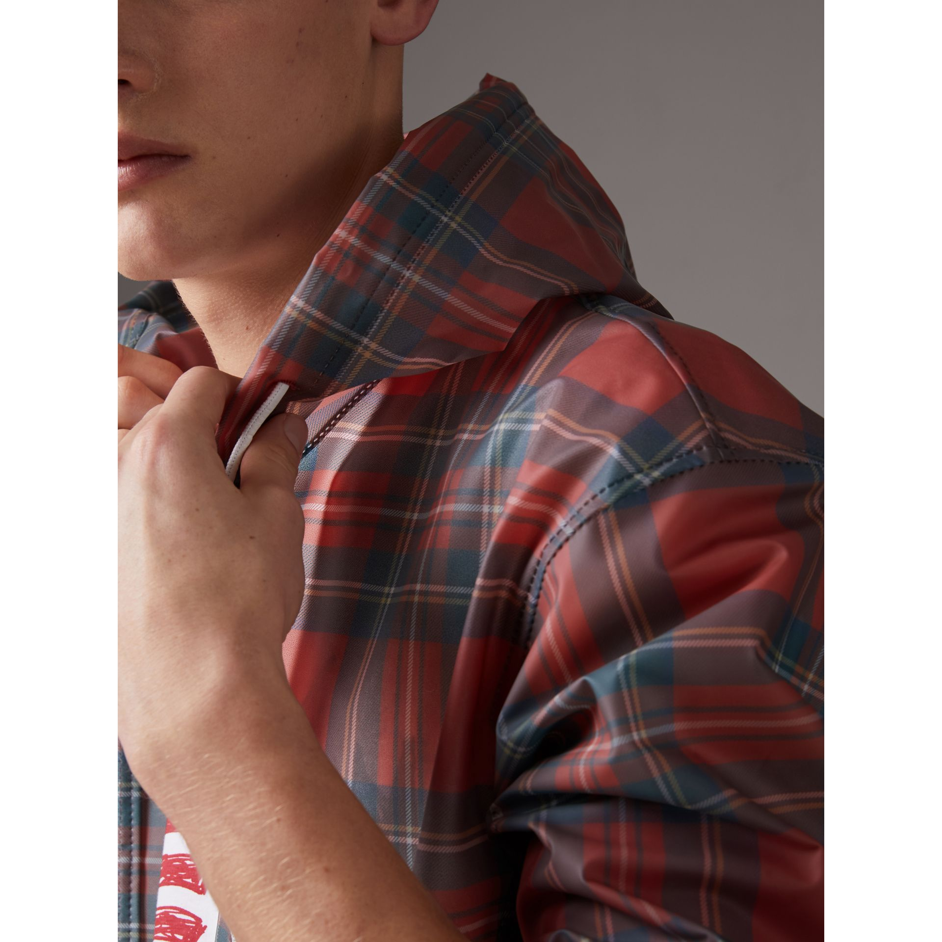 Tartan Soft-touch Plastic Cagoule in Bright Red - Men | Burberry United States - gallery image 1