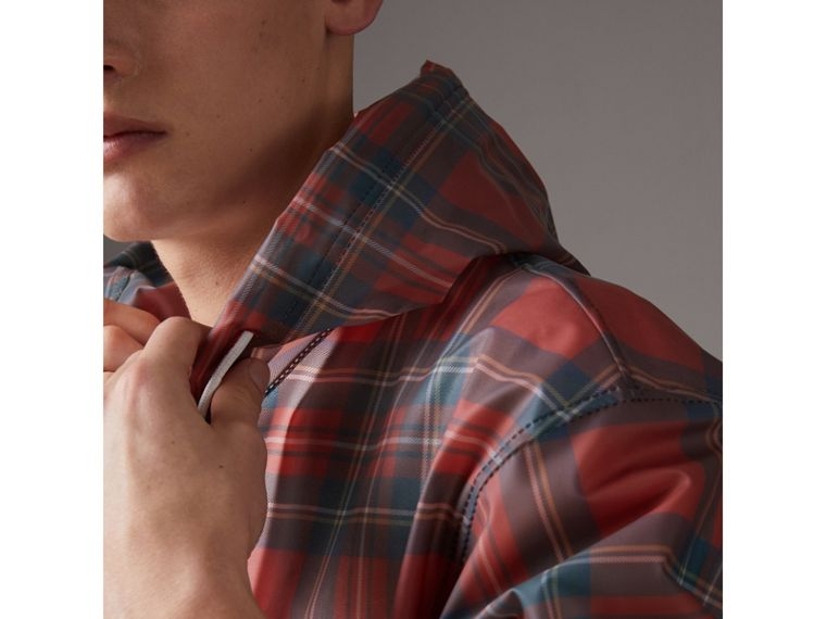 Tartan Soft-touch Plastic Cagoule in Bright Red - Men | Burberry United States - cell image 1