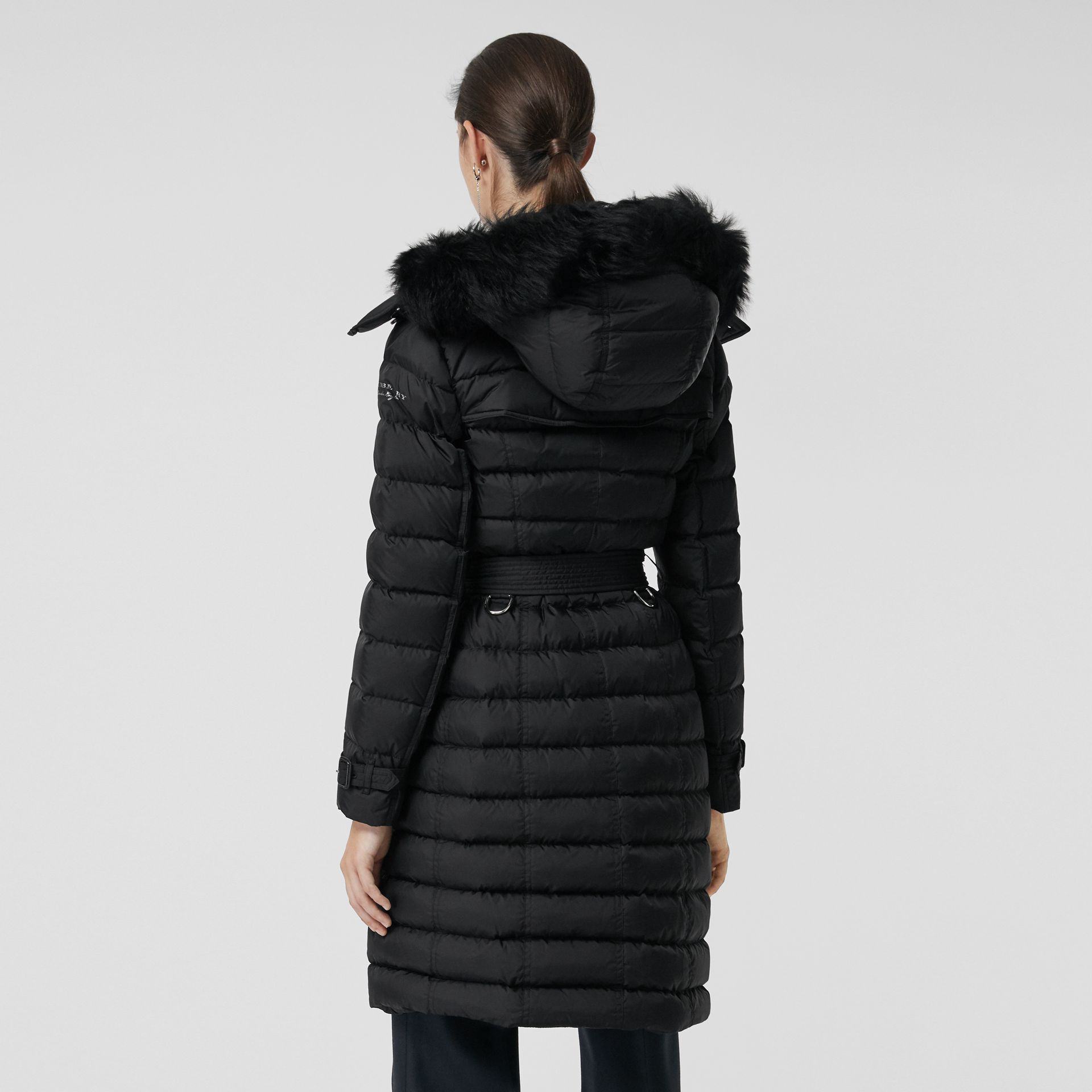 Detachable Hood Down-filled Puffer Coat in Black - Women | Burberry - gallery image 2