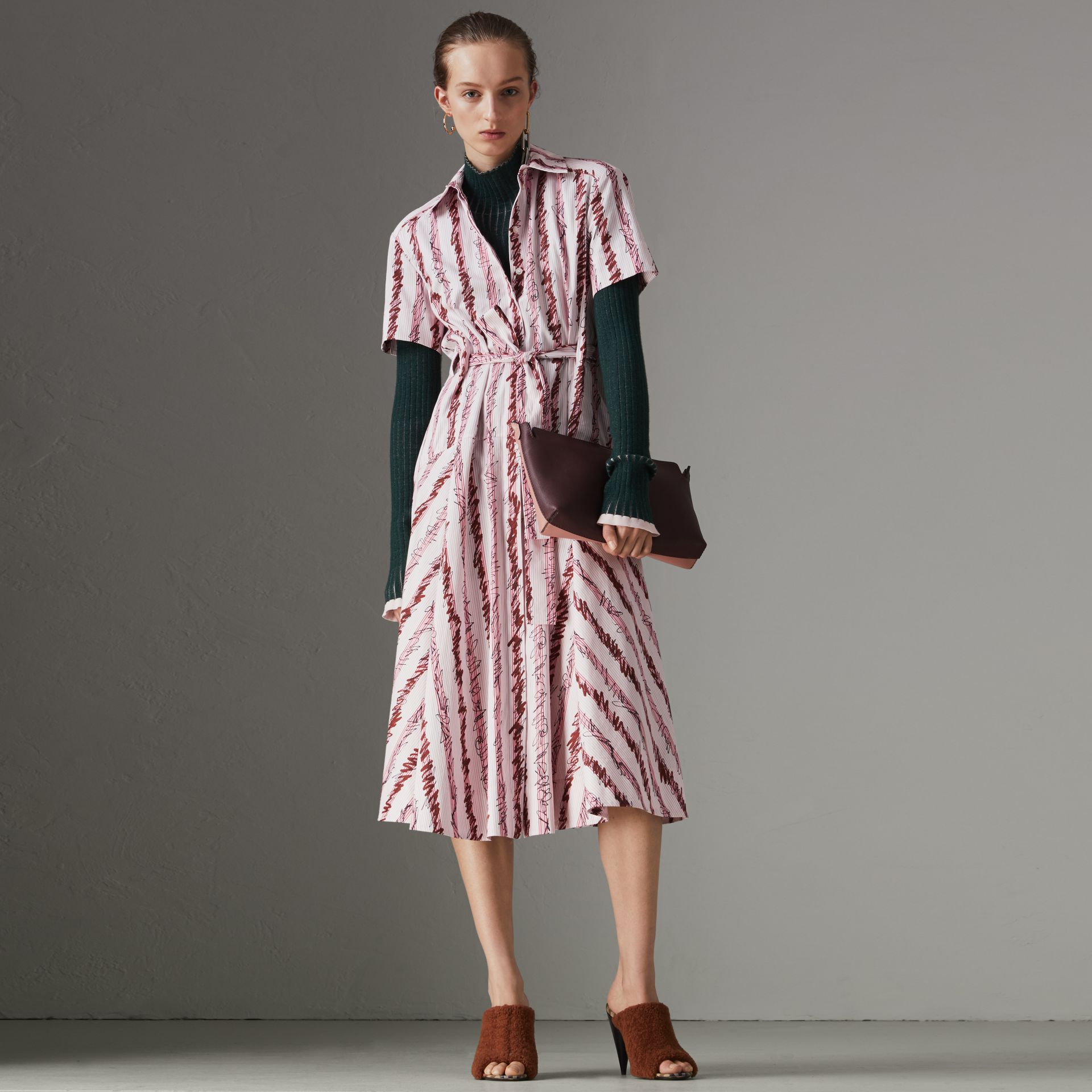 Scribble Stripe Cotton Shirt Dress in Light Pink - Women | Burberry United States - gallery image 0