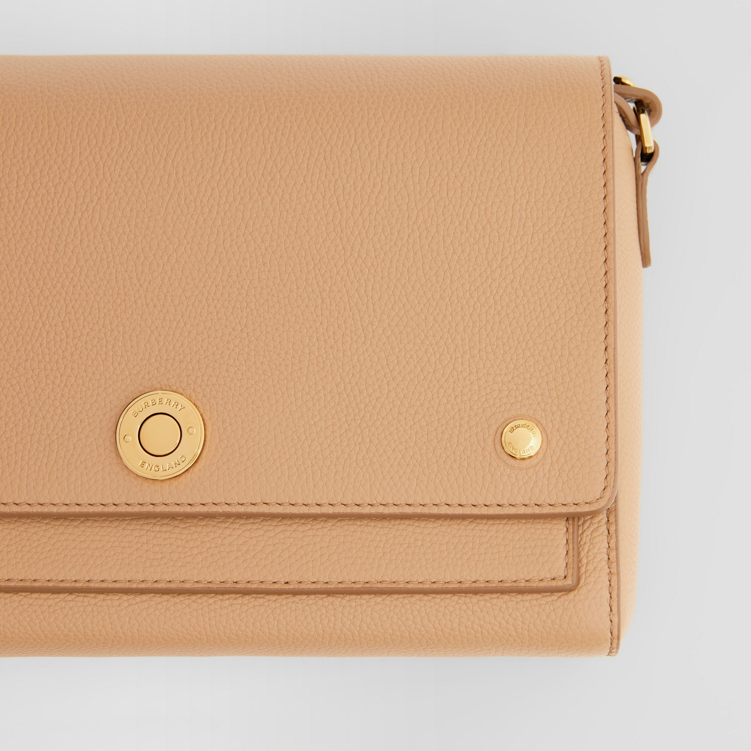 Grainy Leather Note Crossbody Bag in Camel - Women | Burberry - 2