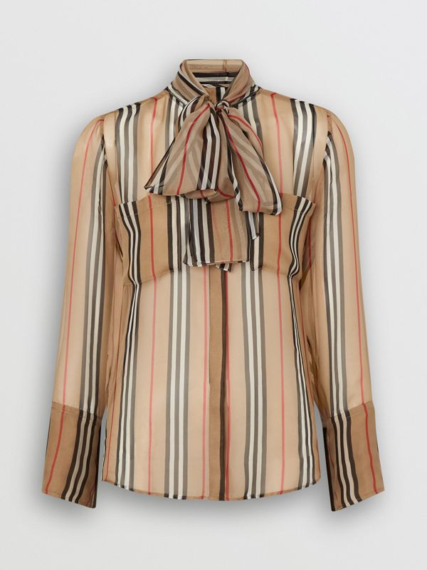 Heritage Stripe Silk Pussy-bow Blouse in Antique Yellow - Women | Burberry - cell image 3