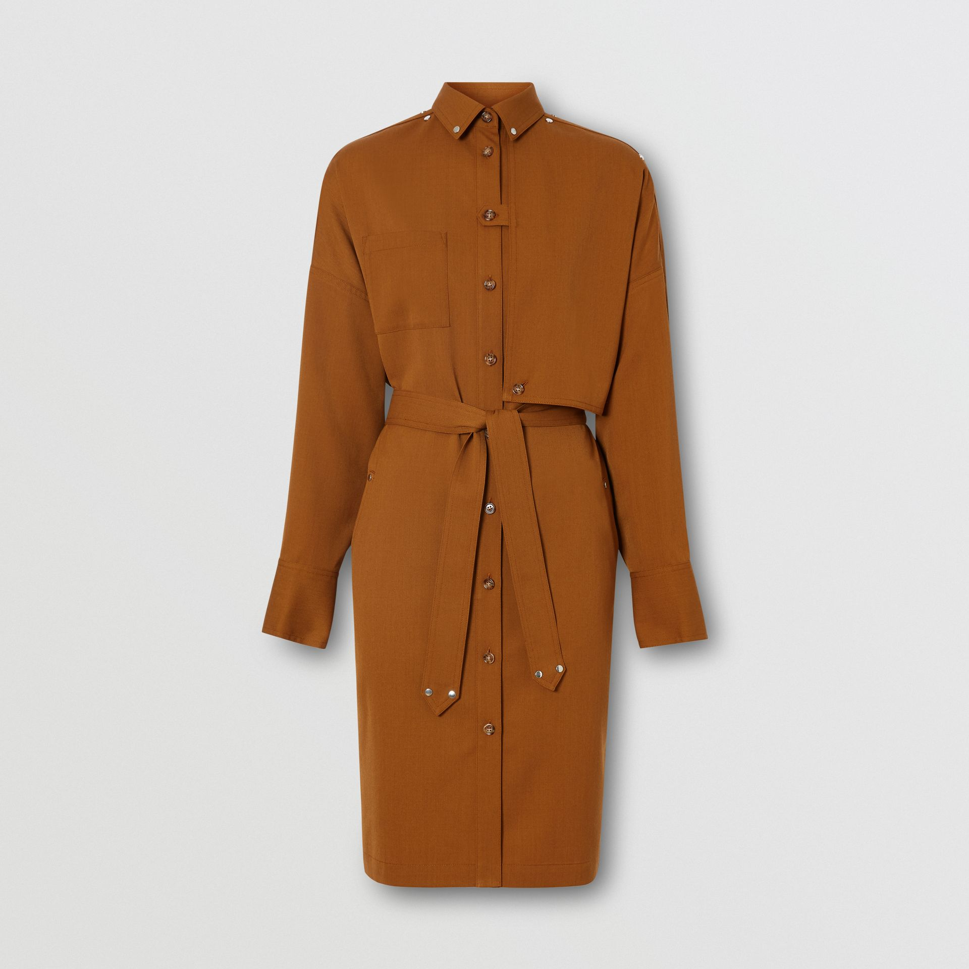 Wool Twill Blend Belted Shirt Dress in Maple - Women | Burberry United Kingdom - gallery image 3