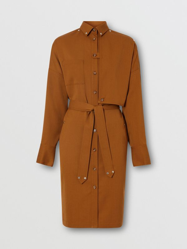 Wool Twill Blend Belted Shirt Dress in Maple - Women | Burberry United Kingdom - cell image 3