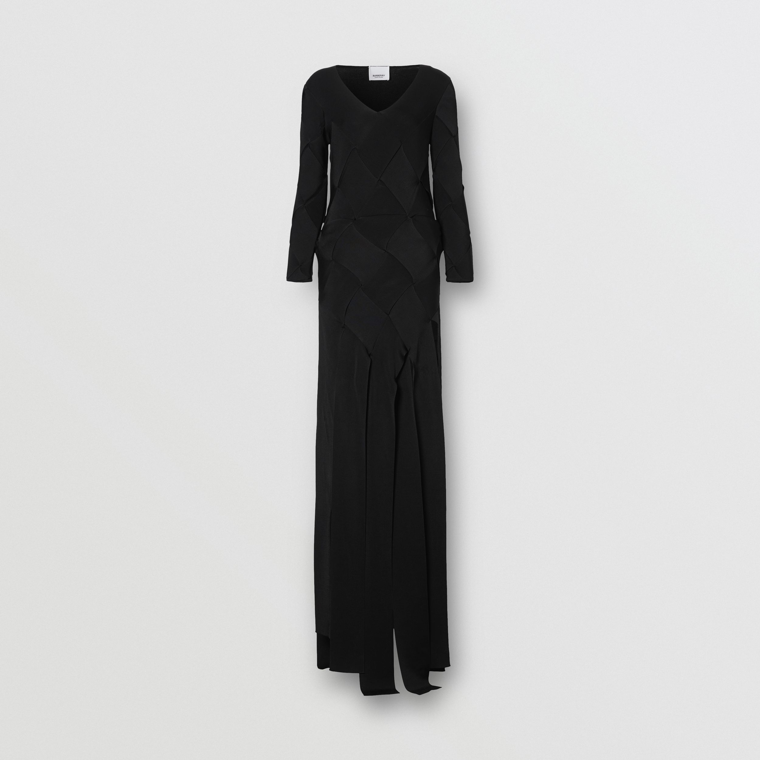 Long-sleeve Panelled Knit Gown in Black - Women | Burberry - 4