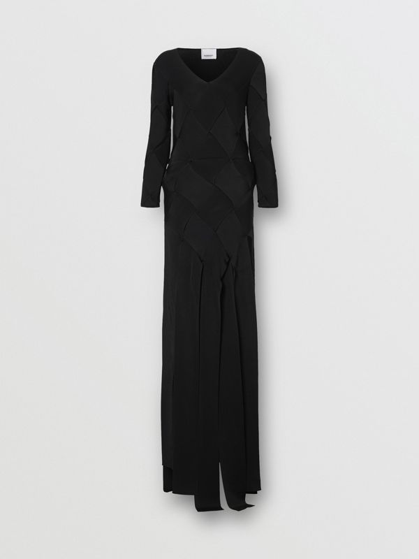 Long-sleeve Panelled Knit Gown in Black - Women | Burberry United Kingdom - cell image 3