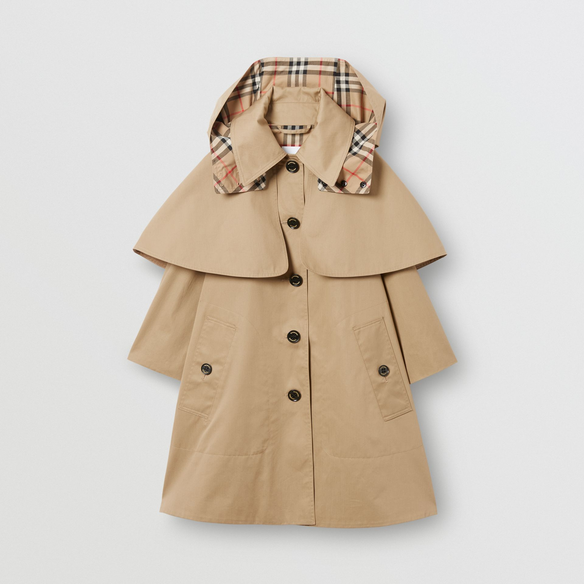 Detachable Hood Showerproof Cotton Swing Coat in Honey | Burberry - gallery image 0