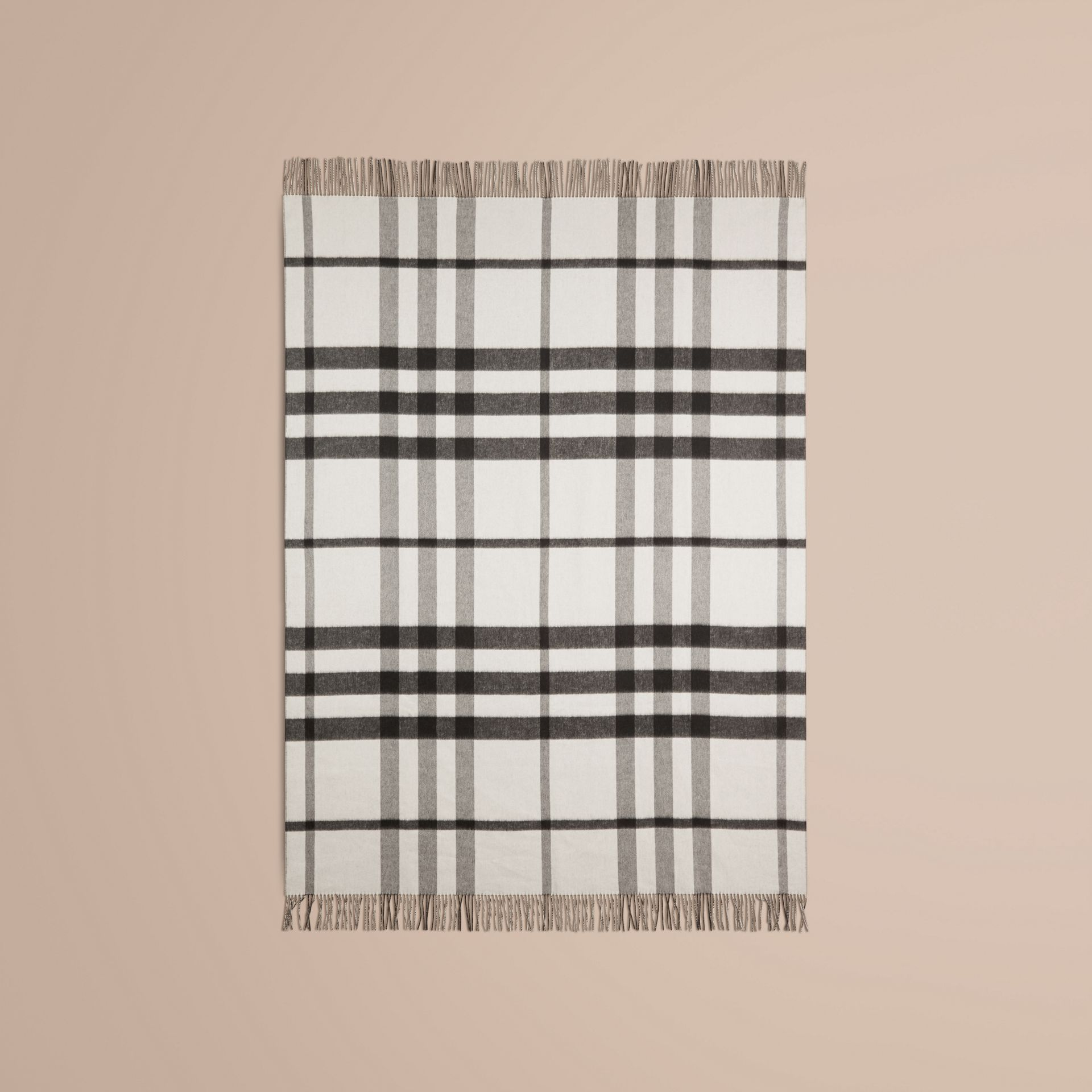 Black/white Check Merino Wool Cashmere Blanket - gallery image 3
