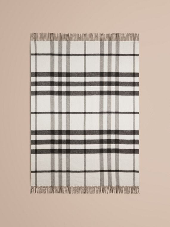 Black/white Check Merino Wool Cashmere Blanket - cell image 2